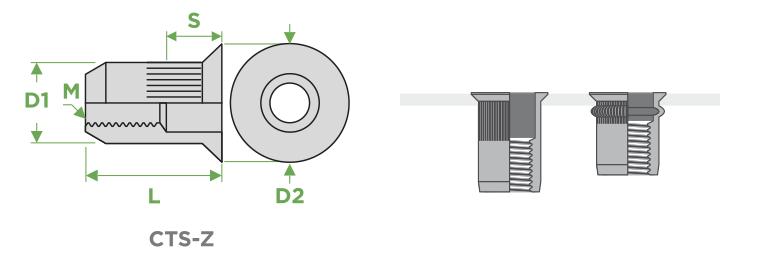 Inserti-cilindrici-testa-svasata-corpo-zigrinato-sariv-Sezione-Impiego