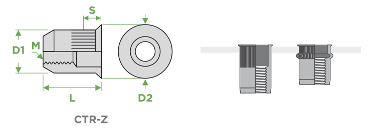 inserti-cilindrici-testa-ridotta-corpo-zigrinato-sariv-Sezione-Impiego